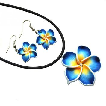 New Fashion Hawaii Plumeria Flowers Jewelry Sets Fimo Polymer Clay Earrings Necklace Pendant
