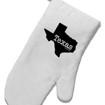 Texas - United States Shape White Printed Fabric Oven Mitt by TooLoud