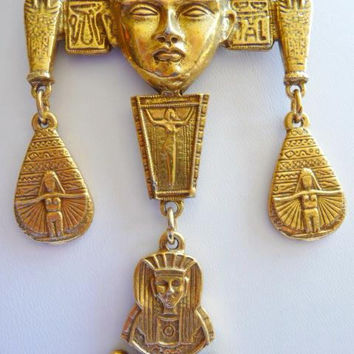 Goldette style Egyptian Revival necklace | hieroglyphics Tuts tomb vintage | Cleopatra mask | matte gold tone jewelry | 1960s vintage