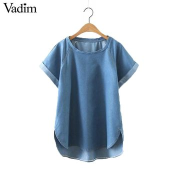 Women solid blue loose denim shirts short sleeve o neck irregular blouse blusas Femininas European style tops DT952