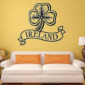 Wall Sticker Ireland Irish Shamrock Mascot Art Mural Vinyl Decal Unique Gift (ig1937)