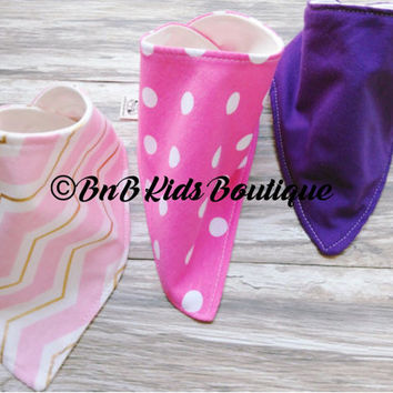 Baby Bandana Bib set of 3. Drool Bib. Dribble Bib. Baby Gift. Boutique. Baby Girl Bibs. Baby Shower. Pink. Purple. Zig Zag. Gold. Polka Dots