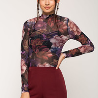 Adela Floral Mesh Mock Neck Top