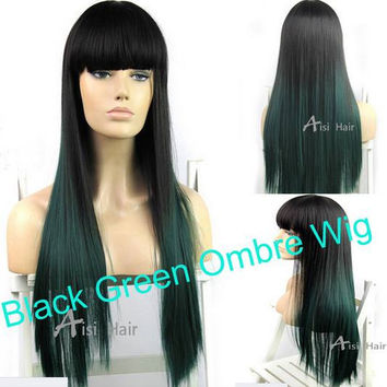 """Balayage Dip Dye 8A High Heat Synthetic Wig 1b Off Black into Teal with Bangs/Fringe 20"""""""
