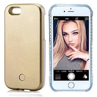 iPhone 7 Plus Illuminated Case,Cutelook New LED Light Up Luminous (Dimmable) Cell Phone Case by Readgo,Great for a bright Selfie and Facetime (Gold)