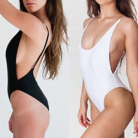 Fashion Women Sexy Bandage Bikini One Piece Swimsuit  Bathing suit Swimwear SML Black and White  T211 = 1955944324