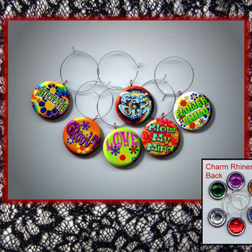 HIPPIE 1960s slang Peace Love Groovy Set of 6 Altered Art Button WINE Glass Charms w/ Rhinestone