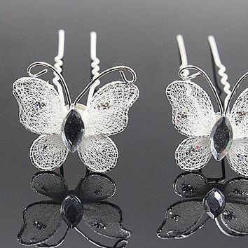 10pcs Rhinestone U Pick  tiara Hairpin Wedding Hair Pins Clips  Butterfly Comb Brides Jewelry Elegant Accessories bijoux cheveux
