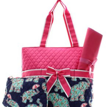 Elephant & Umbrella Diaper Bag - 2 Color Choices