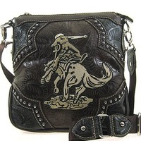Montana West Western Cowboy Horse Hipster Cross Body Purse Messenger Bag (Coffee)
