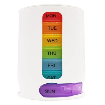 Pill Box for 7 Days Weekly Pill Organiser Pill Dispenser with 4 Compartments – Rainbow