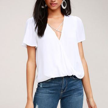 Lighten the Mood White Criss Cross Top