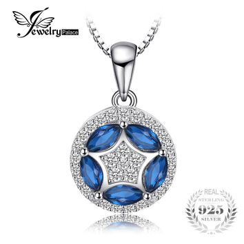 JewelryPalace Flower 0.55 ct Marquise Created Blue Spinel Pendant Necklaces For Women Jewelry 925 Sterling Silver 45cm Box Chain