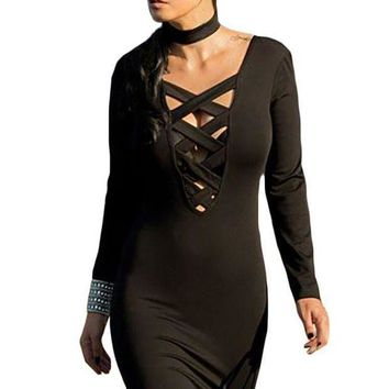 PEAP78W Black Crisscross Plunge Long Sleeve Choker Neck Dress