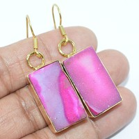 "Gold Plated 925 Sterling Silver Pink Druzy Jewelry Handmade Earrings S-2"" NG214"