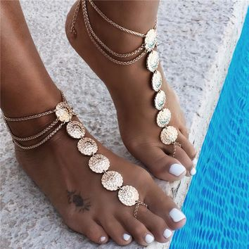 Vintage Gold Anklet with Toe Ring