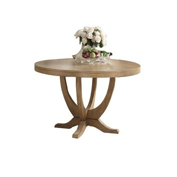 Birch Wood Round Dining Table With Elegant Base Brown