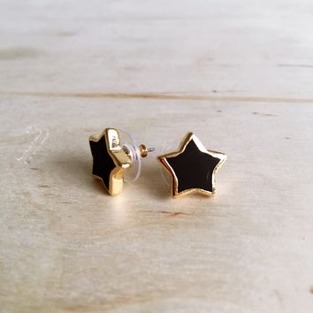 Black Star Stud Earrings