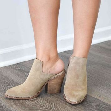 springfield taupe mules