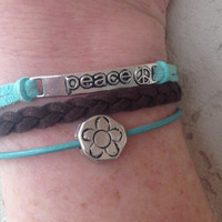 Turquoise Leather and Brown Suede Peace Charm Bracelet- Friendship Bracelet, Stack Bracelet, Leather Cuff, Gift for Her