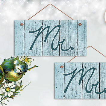 "Mr. and Mrs. Wedding Signs,Blue Distressed Wood Style, Rustic Signs, Weatherproof, 5"" x 10"" Sign, Wedding Chair Signs, Made To Order"
