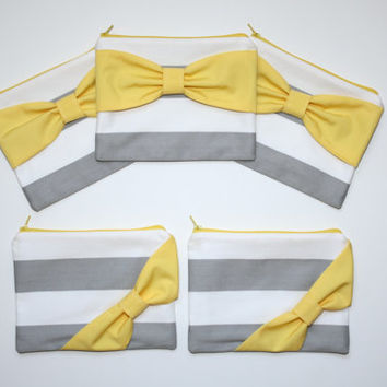 Bridesmaid Gift Set / Bachelorette Favors - Gray Stripes with Yellow Bow - Customizable Wedding Cases - Choose Quantity and Bow Style