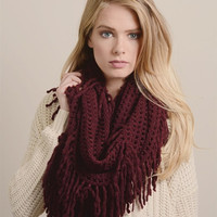 Lattice Tassel Infinity Scarf - Burgundy