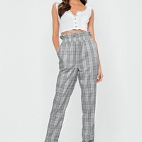 Missguided - Gray Prince Of Wales Paper Bag Waist Pants
