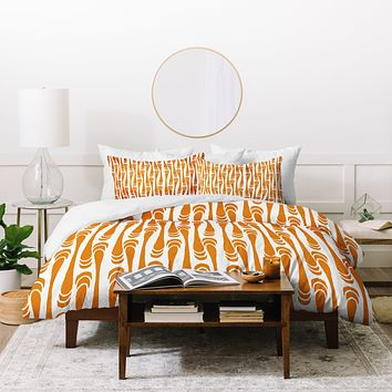 Karen Harris Teardrops Orange On White Duvet Cover