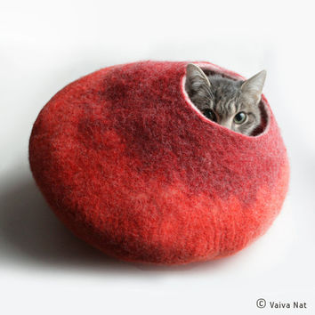 Cat Bed / Cave / House / Vessel - Hand Felted Wool - Warm Orange Red Bubble - Crisp Contemporary Design - READY TO SHIP