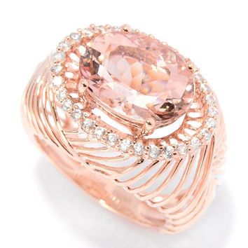 14K Rose Gold 6.01ctw Morganite & White Zircon East-West Ring
