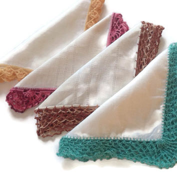 Vintage Hankies Handkerchiefs with Handmade Delicate Crochet Edging Trim Four White Cotton with Assorted Color Trim