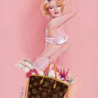 Romantic Louis Vuitton - Print of Original Pastel drawing