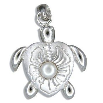 Sterling Silver Eastern Box Turtle with White Freshwater Pearl Pendant