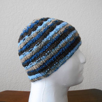 Knit Men's Wool Hat - Men's Striped Wool Hat - Father's Day Gift - Christmas Gift for Men - Ribbed Wool Beanie - Wool Tam -  - Wool Ski Hat