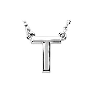 Block initial Necklace in 14k White Gold, Letter T