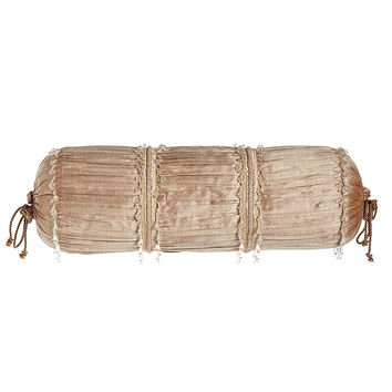 "Modern Maiden Ruched Silk Neckroll Pillow, 8"" x 21"" - Dian Austin Couture Home"