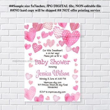 sweetheart invitaiton, Valentine invitation, sweetheart red baby shower, it's a girl , love hearts,  any party, feburary party  - card 1252