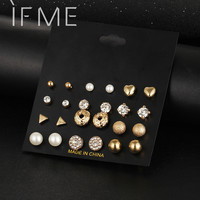 12 Pcs/Set Crystal Alloy Round Ball Gold Color Stud Earrings Vintage Silver Color Simulated Pearl Earring Set For Women Brincos