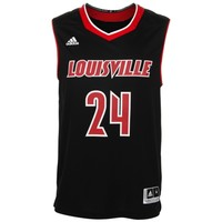 Mens No. 24 Louisville Cardinals adidas Black Replica Basketball Jersey