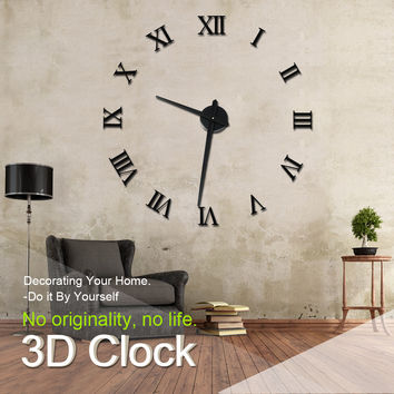 Modern Design DIY 3D Big Wall Clock Home Decor Quartz Horloge Wall Watch Stickers Reloj De Pared Acrylic Mirror Clocks 20 Inch