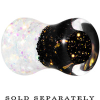 2 Gauge Black Gold White Acrylic Glitter Party Saddle Plug | Body Candy Body Jewelry