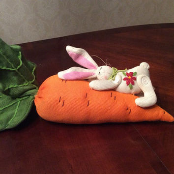 Easter Bunny and Carrot, Soft White Rabbit Holding Large Carrot,  Flower Embellishment, Sweet Baby Bunny with Pink Floppy Ears, Plush