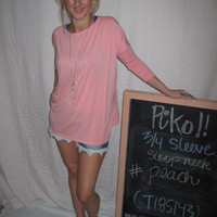 Peach 3/4 Sleeve Piko Shirt On Sale | Overstock Boutiques