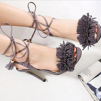 Tassel Stiletto Lace Up Sandals