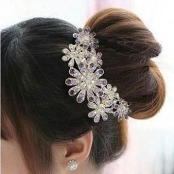 Ahmed Jewelry Fashion Lovely Alloy Crystal Flower Hair Rope Headwear Hair Accessories for Ladies 35 Party Gift