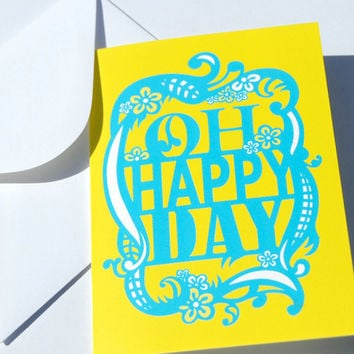 Yellow Blue Birthday Card, Oh Happy Day, Congratulations New Job Card, Graduation Card, Pregnancy Announcement, Inspirational Greeting Card