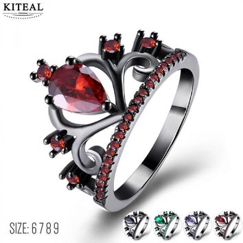 Trendy KITEAL 2018 Fashion Red Purple Green Black King Queen Multi Color Crown Princess Rings for Women anillo zircon verde hombre AT_94_13