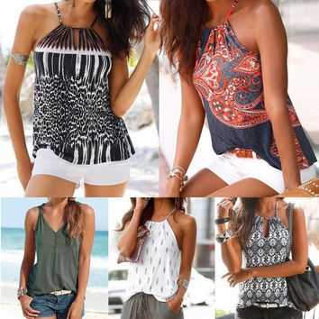 Womens Summer Vintage Strappy Vest Tank Tops Blouse Sleeveless Shirt Casual Tops