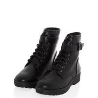 Black Chunky Lace Up Buckle Boots